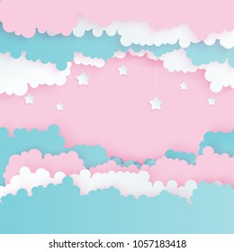 Modern paper art clouds with stars. Cute cartoon sky with fluffy clouds in pastel colors. Cloudy weather. Origami style