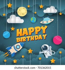 Modern Paper Art Style Happy Birthday Card Illustration - Space Scientist