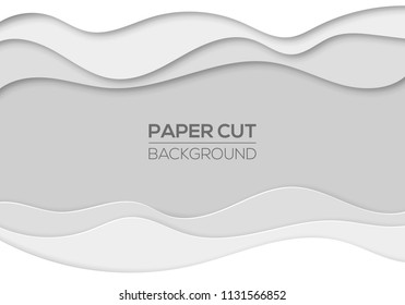Modern paper cut art cartoon abstract waves background. Banners, flyers, presentations and posters template. Origami 3d design. Vector illustration