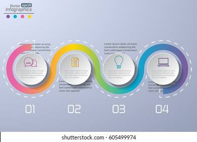 Modern paper infographics diagram for web design, banners, mobile applications, layouts, corporate brochures, adv booklets,  financial reports. Business concept vector illustration.