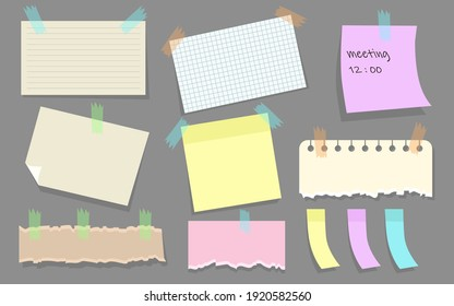 Modern paper notes on stickers flat illustration set. Cartoon torn paper sheets form notepad isolated vector illustration collection. Office notepapers and information board concept
