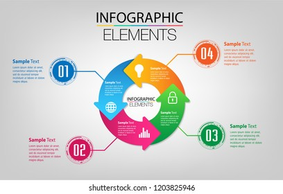 modern paper text box template for website computer graphic technology, banner Infographics, Circle rotate arrow