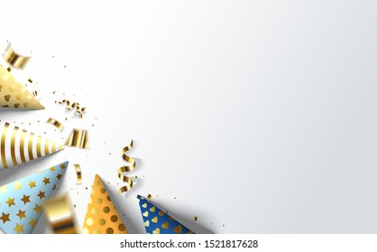 Modern party background, with some birthday hat illustration designs and gold foil tears. the design can be edited according to your needs and desires.