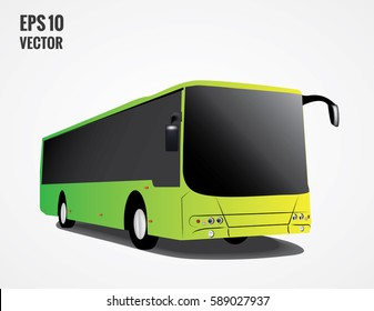 Modern Passenger Bus on the White Background, City Tourist Bus Transportation Vehicle, Modern and Comfortable Coach, Traveling by Bus