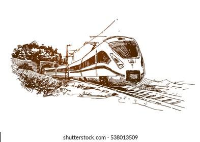 Modern Passenger Train Sketch