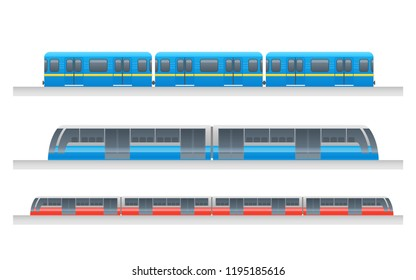 Modern passenger urban underground train vector set