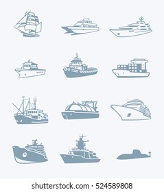 Modern passengers, cargo and military ships gray icons