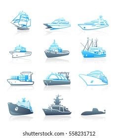 Modern passengers, cargo and military ships blue-gray icons
