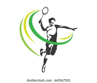 Modern Passionate Badminton Player In Action Logo - The Winning Smash