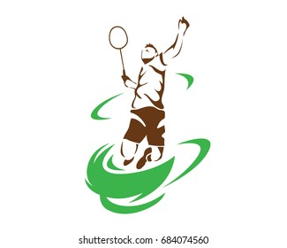 Modern Passionate Badminton Player In Action Logo - Flying Tornado Smash