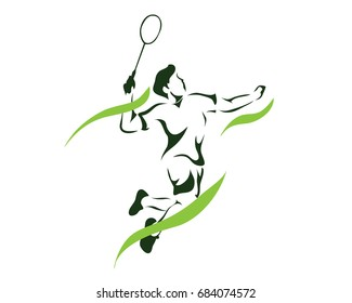 Modern Passionate Badminton Player In Action Logo - Green Flame Game Point Smash