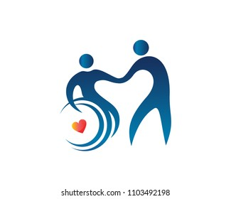 Modern Passionate Disability People Support In Wheel Chair Logo Illustration