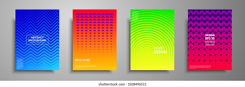 Modern pastel covers with multi-colored golden shapes and objects. Abstract design template for brochures, flyers, banners, book covers, notebooks, sketchpads.