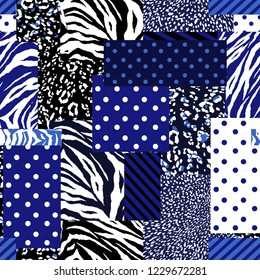 Modern patchwork collage animal skin mixed with geometric pattern ,polka dots and stripe in  seamless vector design for fashion,fabric , wallpaper and all prints on electric blue