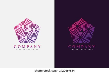 Modern Pentagon Logo With Abstract Lines Inside. Usable For Brand Business and Company. Vector Logo Illustration.