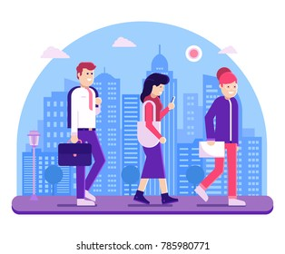 Modern people go to work on urban skyline background. Office team girl worker, manager and business man walking on downtown. Concept vector banner illustration.
