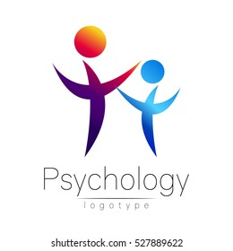 Modern people psi logo of Psychology. Family Human. Creative style. Logotype in vector. Design concept. Brand company. violet blue color isolated on white background. Symbol for web, print, card