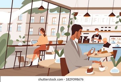 Modern people working or chatting sitting at tables in cafe vector flat illustration. Man and woman drinking coffee or tea, use smartphone and laptop. Social distance or leisure at cafeteria