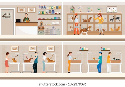 Modern pet shop with cages of animal, animal health care conceptual vector illustration.