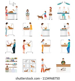 Modern pet shop and pet clinic with customer isolated on white, cartoon animal health care conceptual vector illustration.