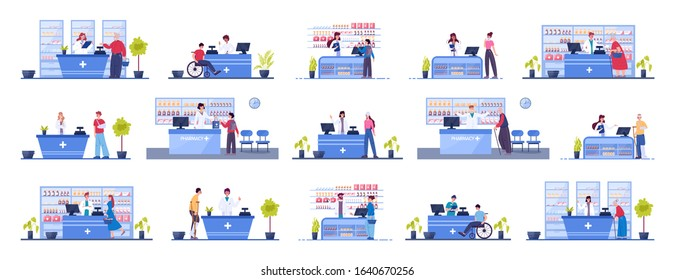 Modern pharmacy interior with visitors set. Client order and buy medicaments and drugs. Pharmacist standing at the counter in the uniform. Healthcare and medical treatment concept. Vector illustration