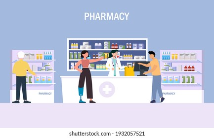 Modern pharmacy interior with visitors set. client order and buy medicaments and drugs. healthcare and medical treatment concept