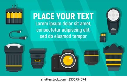 Modern photographer equipment concept banner. Flat illustration of modern photographer equipment vector concept banner for web design