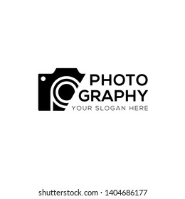 Modern photography vector logo, Black camera icon sliced logo template isolated on white background