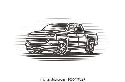 Modern pickup truck illustration. Isolated, vector.
