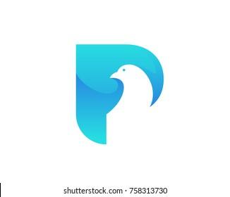 Modern Pigeon Logo - Aqua P Alphabet Letter