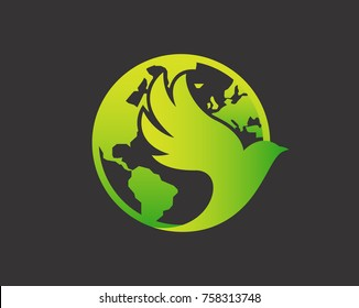 Modern Pigeon Logo - Green World Humanity Pigeon