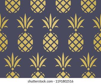 Modern Pineapple Background. Golden Pattern Endless.