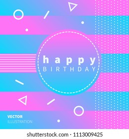 Modern pink and blue happy birthday design, with geometric elements