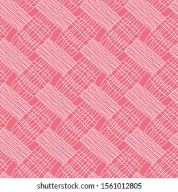 modern pink and white seamless organic plaid pattern tile. for textile , fabric, backgrounds, wallpapers, backdrops, print, cover and creative surface designs.
