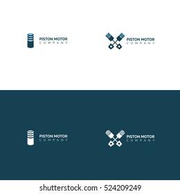 Modern Piston motor company logo design set inverse variant