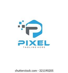 Modern Pixelated Logo Template Vector