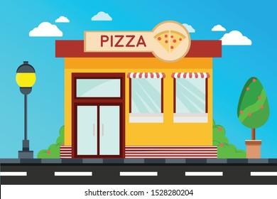Modern Pizza Shop buildings, illustration of exterior facade store building.