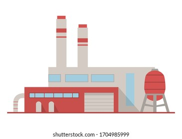 Modern plant.Factory building with pipes.Industrial architecture.Flat vector illustration.Isolated on white background.Building facade.