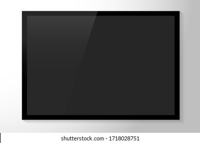 Modern plasma TV leading model. Black flat tv with whitewash. TV with a black screen on a gray background. Vector illustration. Stock Photo.