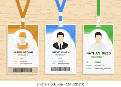 Modern plastic id card template with clasp and lanyard. Blue and white color mock up set. Colorful icon or logo collection. Simple realistic design. Cute cartoon style. Flat style vector illustration.