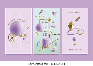 Modern playful vertical banner set inspired by Memphis style in purple, golden and green color palette with 3D geometric compositions