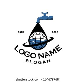 Modern plumbing service logo silhouette editable EPS vector file. Spigot icon. For business man and company, future work or job. Simple bold design. Apply to web site, mobile phone apps, wall decor