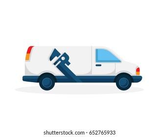 Modern Plumbing Service Logo - Water Maintenance Van Illustration