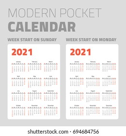 Modern pocket calendar on white background design set 2021