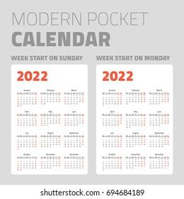 Modern pocket calendar set 2022