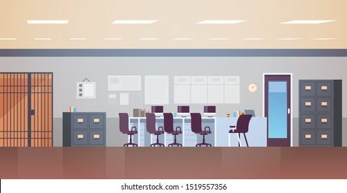 modern police station or department with furniture empty no people office room interior flat horizontal