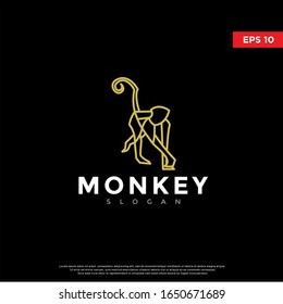 modern polygon monkey logo. simple icon, template design