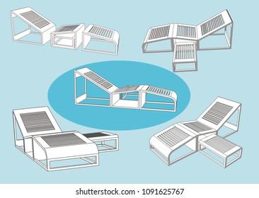 Modern Pool Chair, Vevtor & Illustration