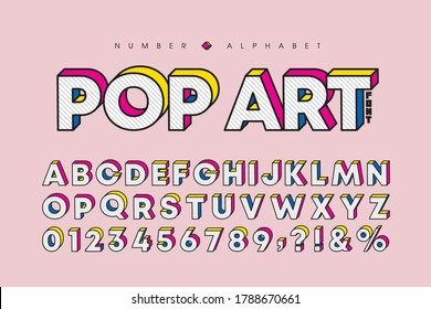 Modern pop art 3 dimensional letters and number set. Stylish bold font or typeface for headline, title, poster, web design, brochure, layout or graphic print. Flat vector 3D alphabet & number.