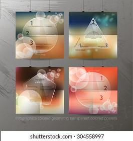 Modern pop art abstract composition of posters with clear infogr